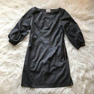 ABAETÉ GREY WOOL BISHOP SLEEVE SHIFT DRESS